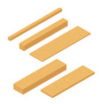 set of isometric wooden planks stack of bars and vector image vector image