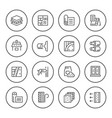 set round line icons insulation vector image vector image