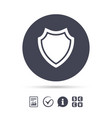 shield sign icon protection symbol vector image