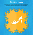 Shoe icon sign Floral flat design on a blue vector image vector image