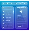 transparent mobile user interface on blue vector image vector image