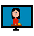 tv broadcast woman on white background vector image