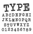 Type alphabet font template set letters and