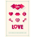 Valentines day love icons set vector image