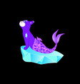violet cat mermaid sitting on a stone vector image vector image