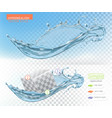 water splash with transparent 3d realistic object vector image