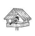 winter bird feeder sketch vector image vector image