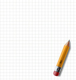 wooden pencil with eraser lies on the notebook vector image vector image