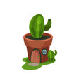 fantasy house in form of green cactus in pot home vector image