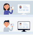 account verification people holding vector image vector image