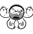 Angry cartoon monster with stubble black and white vector image vector image