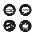 Bad habits black icons set vector image