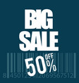 big sale icon with bar code in white vector image