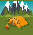 camping zone with tent and campfire vector image vector image