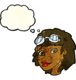 cartoon happy woman wearing aviator goggles with vector image vector image