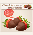 chocolate covered strawberries icon cartoon vector image vector image