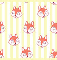 cute fox seamless pattern wolf hand drawn forest vector image vector image