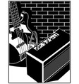electric guitar and guitar amplifier vector image vector image