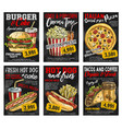 fast food restaurant menu price card on blackboard vector image vector image