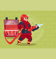 fireman holding hose wearing uniform and helmet vector image vector image