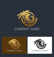 gold palm tree tropic logo vector image
