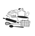 hand drawn cooking tools dishes and food creative vector image