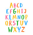 hand drawn english alphabet colorful letters set vector image