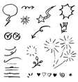 hand drawn set elements black on white vector image vector image
