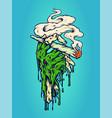 hand weed smoking marijuana vector image vector image