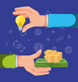 hands with set icons economy finance vector image vector image