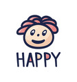 happy man character head design cartoon hand vector image vector image