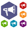 megaphone icons set hexagon vector image vector image