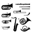 music instruments set brass musical instrument vector image vector image