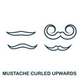 mustache curled upwards icon flat style icon vector image