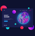 night games concept banner gamer neon sign can vector image