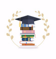 pile school books with graduation cap vector image
