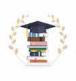 pile school books with graduation cap vector image