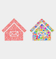 post office mosaic icon triangle items vector image vector image