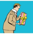 retro man gives a gift vector image vector image