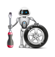 Robot with a car wheel and a screwdriver vector image vector image