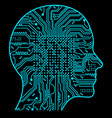 rtificial intelligence the image of human head vector image