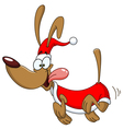 running dog with santa clothes vector image