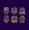 set of dinosaur emblems sports logos dino vector image