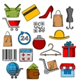 Shoppingretail and commerce icons vector image vector image