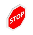 Stop sign icon isometric 3d style vector image vector image