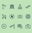 traveling icons set with sprinkler waiting room vector image