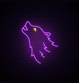 wolf head neon sign purple wild wolf bright vector image