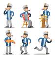 sailor cartoon character set old captain vector image