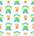 seamless pattern with frogs and plush bears toys vector image