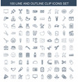 100 clip icons vector image vector image
